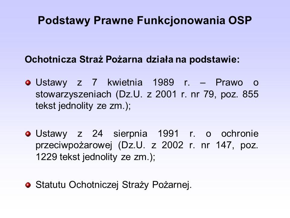 Podstawy Prawne Funkcjonowania OSP Ustawy z 7 kwietnia 1989 r. – Prawo o stowarzyszeniach (Dz.U. z 2001 r. nr 79, poz. 855 tekst jednolity ze zm.); Us