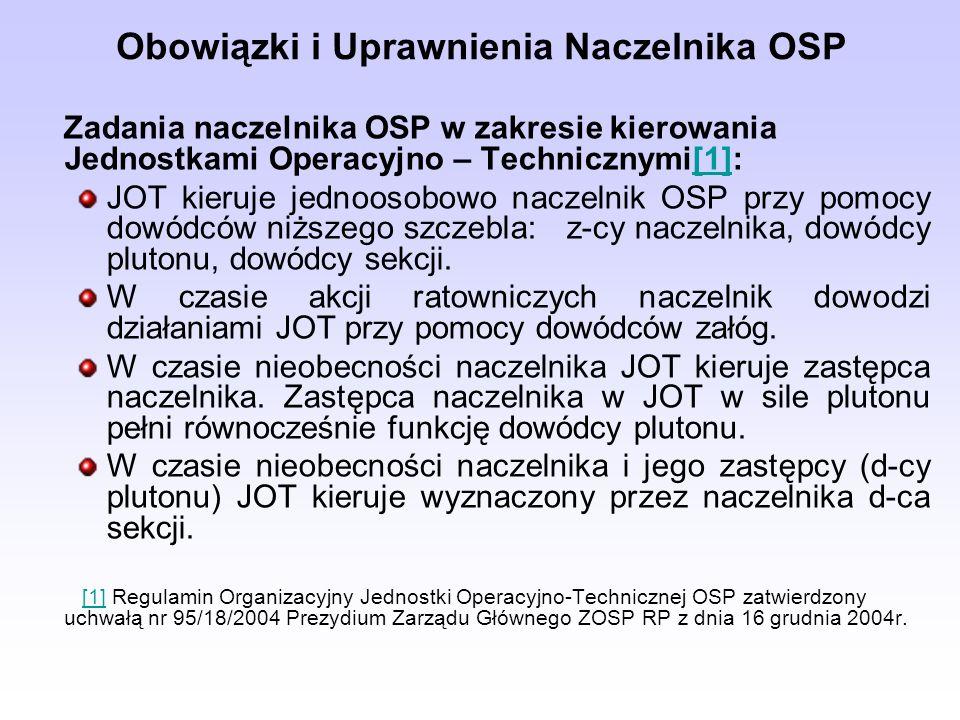 Obowiązki i Uprawnienia Naczelnika OSP Zadania naczelnika OSP w zakresie kierowania Jednostkami Operacyjno – Technicznymi[1]:[1] JOT kieruje jednoosob