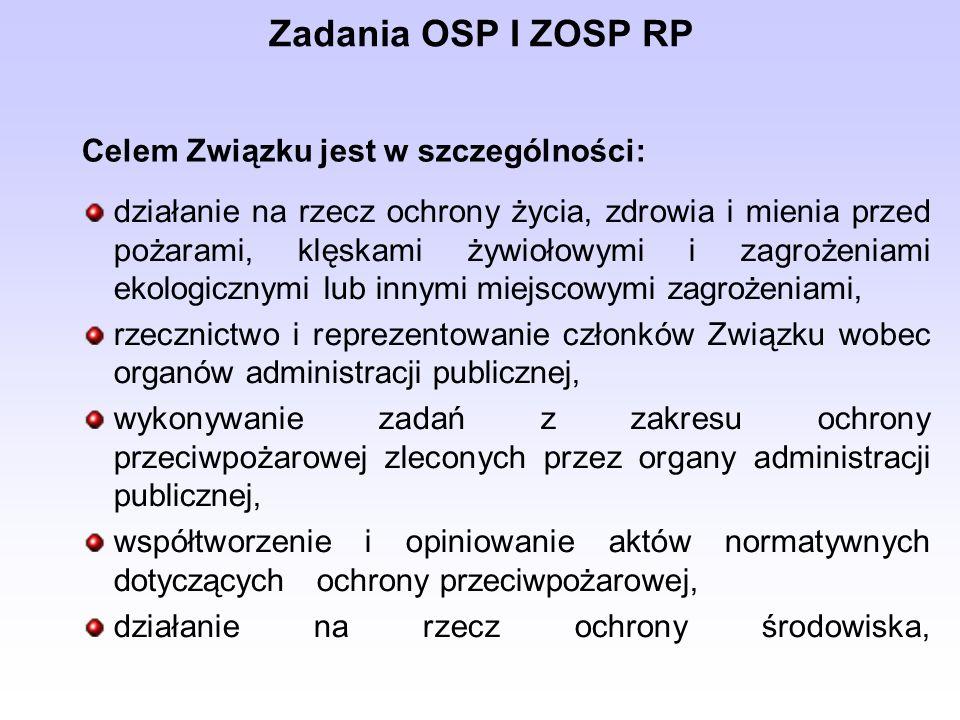 Zadania OSP I ZOSP RP działanie na rzecz ochrony życia, zdrowia i mienia przed pożarami, klęskami żywiołowymi i zagrożeniami ekologicznymi lub innymi