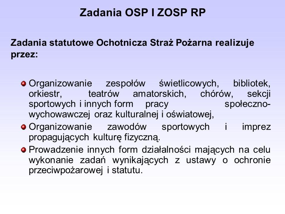 reprezentowanie interesów OSP, realizowanie uchwał i wytycznych Walnego Zebrania Członków OSP, zwoływanie Walnego Zebrania Członków OSP, niezwłoczne zawiadomienie sądu rejestrowego o zmianie statutu oraz zmianach w składzie Zarządu i Komisji Rewizyjnej, udzielanie niezbędnych wyjaśnień organowi nadzorującemu, opracowanie projektów rocznego planu działalności i budżetu OSP oraz składanie sprawozdań z ich wykonania Walnemu Zebraniu Członków OSP, zaciąganie w imieniu OSP zobowiązań finansowych i innych zobowiązań majątkowych w zakresie zwykłego zarządu.
