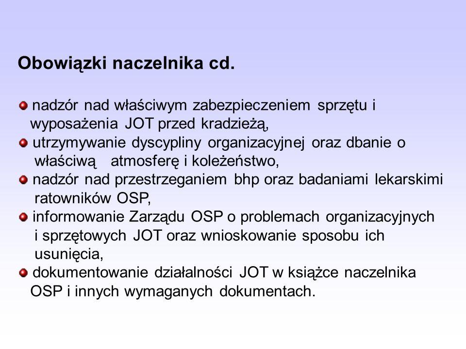 Obowiązki naczelnika cd. nadzór nad właściwym zabezpieczeniem sprzętu i wyposażenia JOT przed kradzieżą, utrzymywanie dyscypliny organizacyjnej oraz d