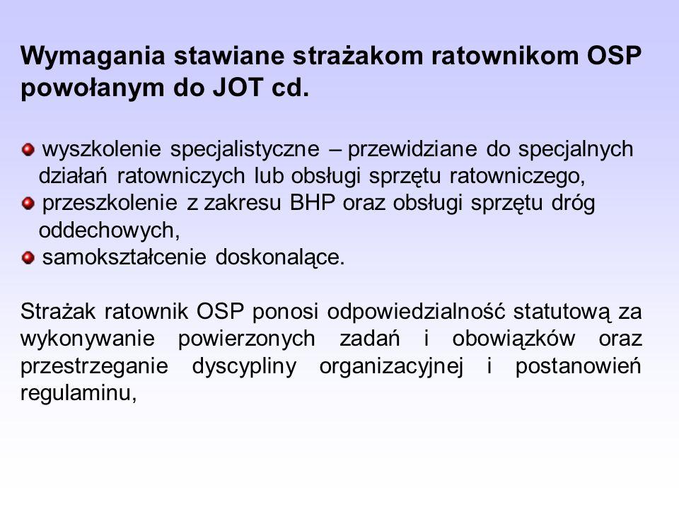 Wymagania stawiane strażakom ratownikom OSP powołanym do JOT cd. wyszkolenie specjalistyczne – przewidziane do specjalnych działań ratowniczych lub ob