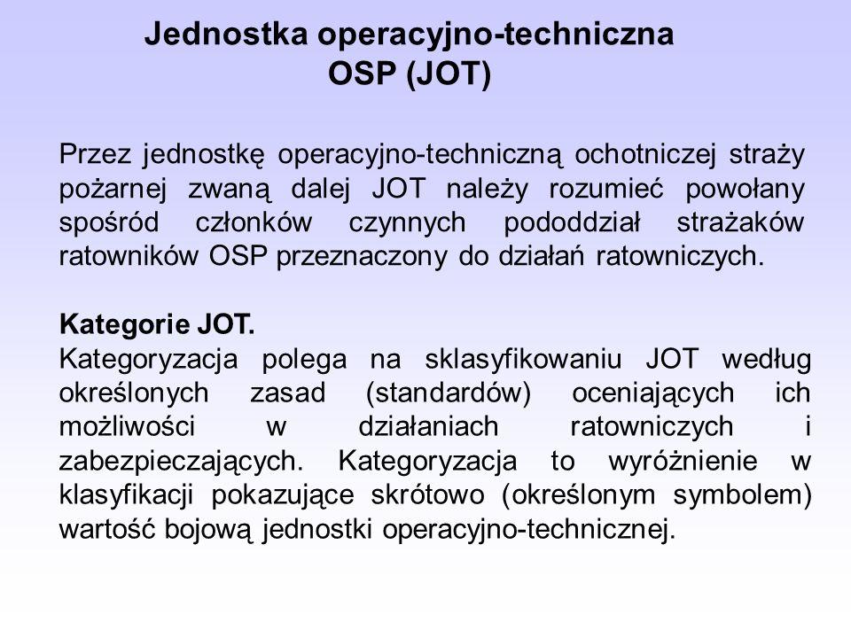 Jednostka operacyjno-techniczna OSP (JOT) Przez jednostkę operacyjno-techniczną ochotniczej straży pożarnej zwaną dalej JOT należy rozumieć powołany s