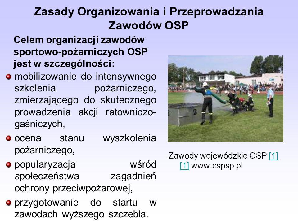 Zasady Organizowania i Przeprowadzania Zawodów OSP Zawody sportowo-pożarnicze organizowane są jako zawody: gminne, gminne eliminacyjne, powiatowe, powiatowe eliminacyjne, wojewódzkie, krajowe, pucharowe, memoriałowe i inne.