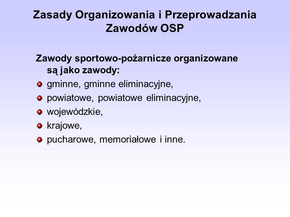 Zasady Organizowania i Przeprowadzania Zawodów OSP Startujące w zawodach drużyny występują w 2 grupach: Grupa A - męskie drużyny pożarnicze - wiek powyżej 18 lat (dopuszcza się młodzież od 16 lat, z wyjątkiem funkcji mechanika i dowódcy).