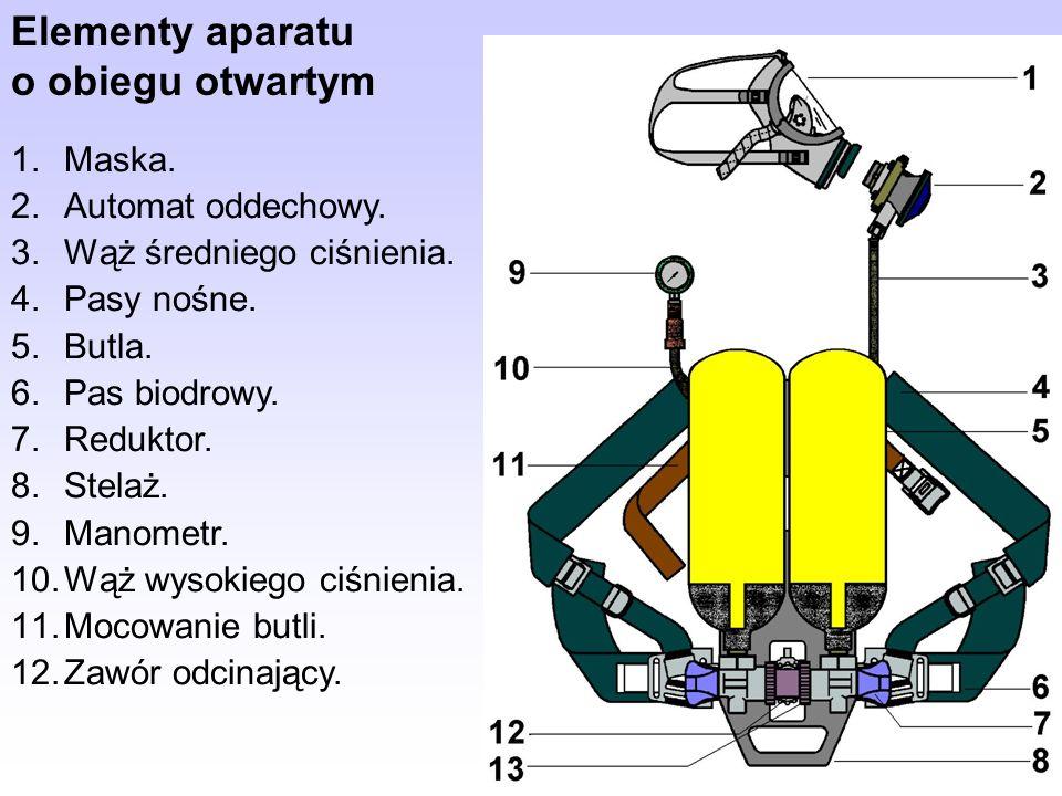 Aparat AP 3 Aparat dwustopniowy o stopniach połączonych 1.butla 2.zawór odcinający 3.reduktor 4.sygnalizator akustyczny 5.wąż oddechowy 6.maska
