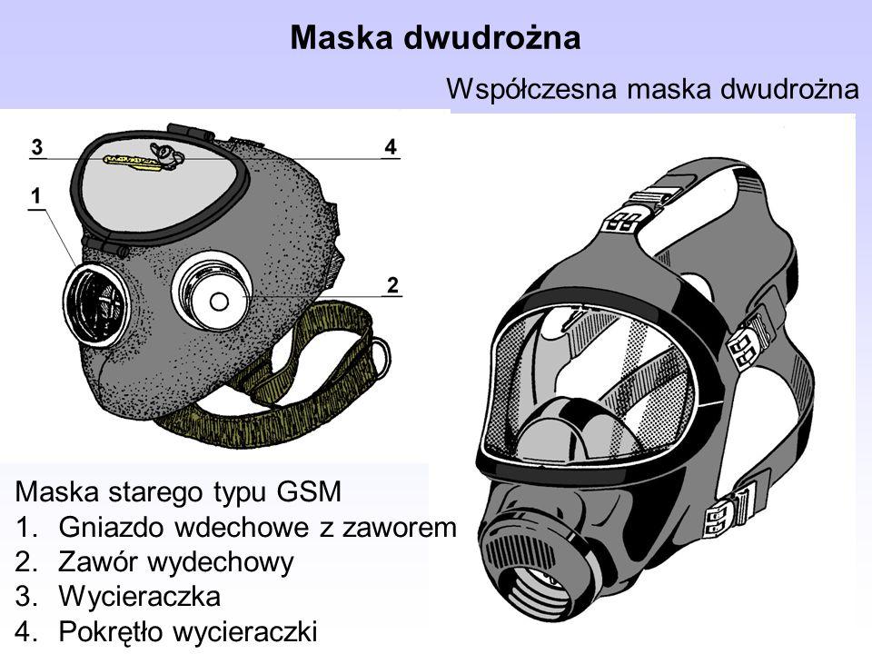 Maska dwudrożna Maska starego typu GSM 1.Gniazdo wdechowe z zaworem 2.Zawór wydechowy 3.Wycieraczka 4.Pokrętło wycieraczki Współczesna maska dwudrożna
