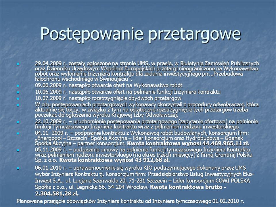 Postępowanie przetargowe 29.04.2009 r. zostały ogłoszone na stronie UMS, w prasie, w Biuletynie Zamówień Publicznych oraz Dzienniku Urzędowym Wspólnot