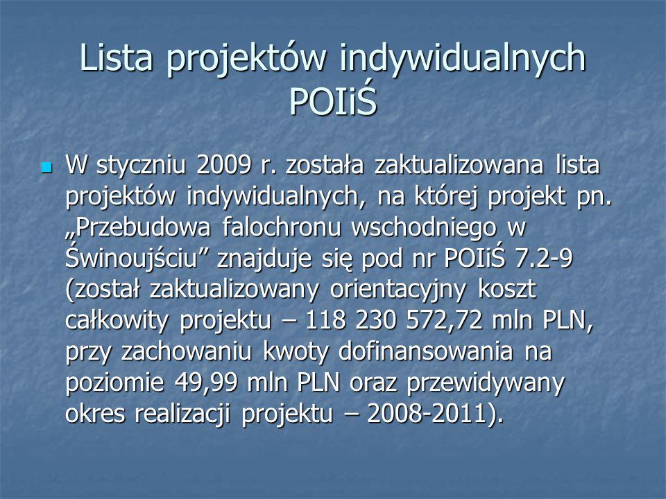 Lista projektów indywidualnych POIiŚ W styczniu 2009 r. została zaktualizowana lista projektów indywidualnych, na której projekt pn. Przebudowa faloch