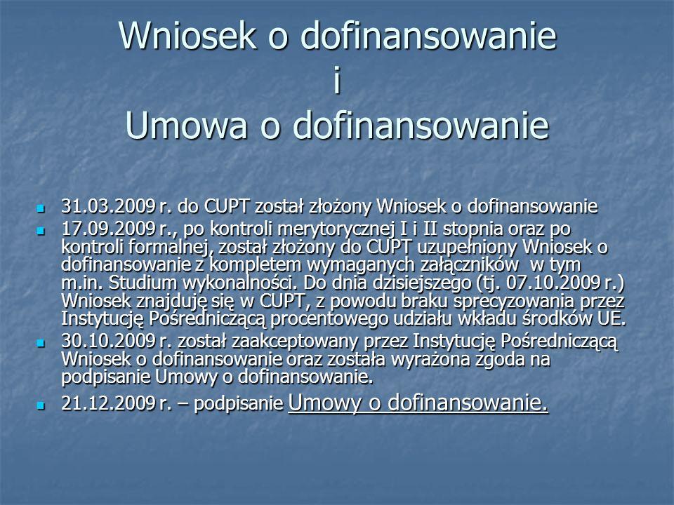 Wniosek o dofinansowanie i Umowa o dofinansowanie 31.03.2009 r. do CUPT został złożony Wniosek o dofinansowanie 31.03.2009 r. do CUPT został złożony W