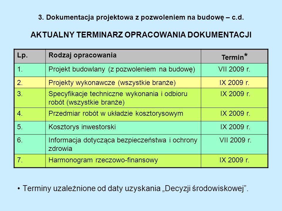 3. Dokumentacja projektowa z pozwoleniem na budowę – c.d. AKTUALNY TERMINARZ OPRACOWANIA DOKUMENTACJI Lp.Rodzaj opracowania Termin * 1.Projekt budowla