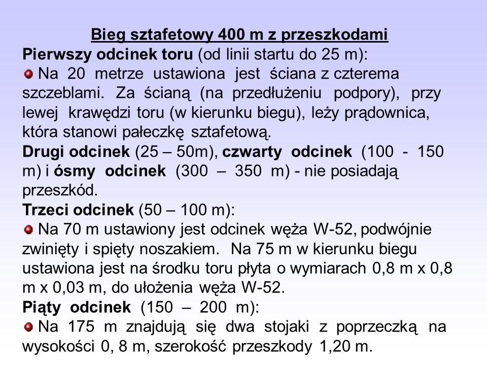Bieg sztafetowy 400 m z przeszkodami Pierwszy odcinek toru (od linii startu do 25 m): Na 20 metrze ustawiona jest ściana z czterema szczeblami. Za ści