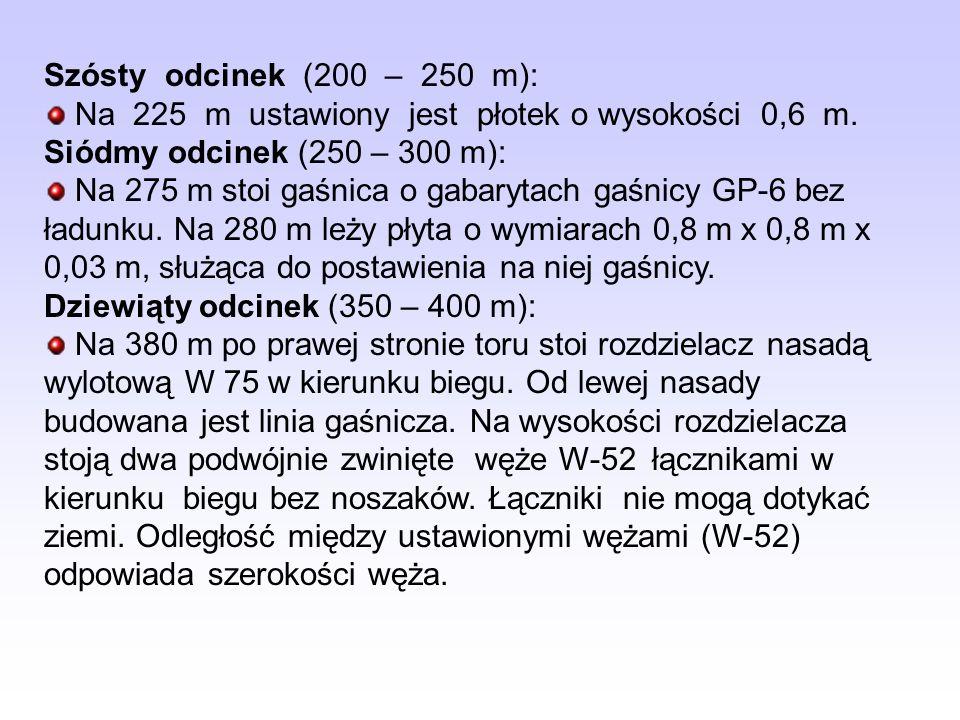 Szósty odcinek (200 – 250 m): Na 225 m ustawiony jest płotek o wysokości 0,6 m. Siódmy odcinek (250 – 300 m): Na 275 m stoi gaśnica o gabarytach gaśni