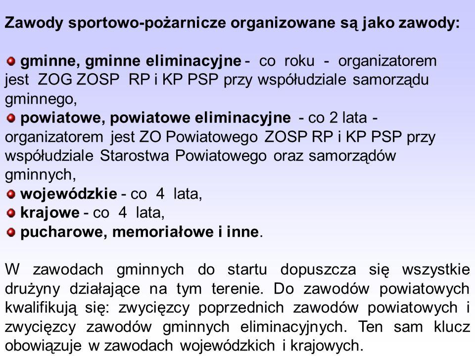 Zawody sportowo-pożarnicze organizowane są jako zawody: gminne, gminne eliminacyjne - co roku - organizatorem jest ZOG ZOSP RP i KP PSP przy współudzi