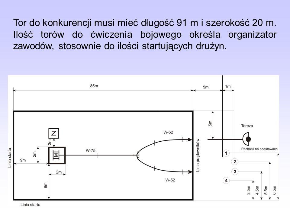 Tor do konkurencji musi mieć długość 91 m i szerokość 20 m. Ilość torów do ćwiczenia bojowego określa organizator zawodów, stosownie do ilości startuj