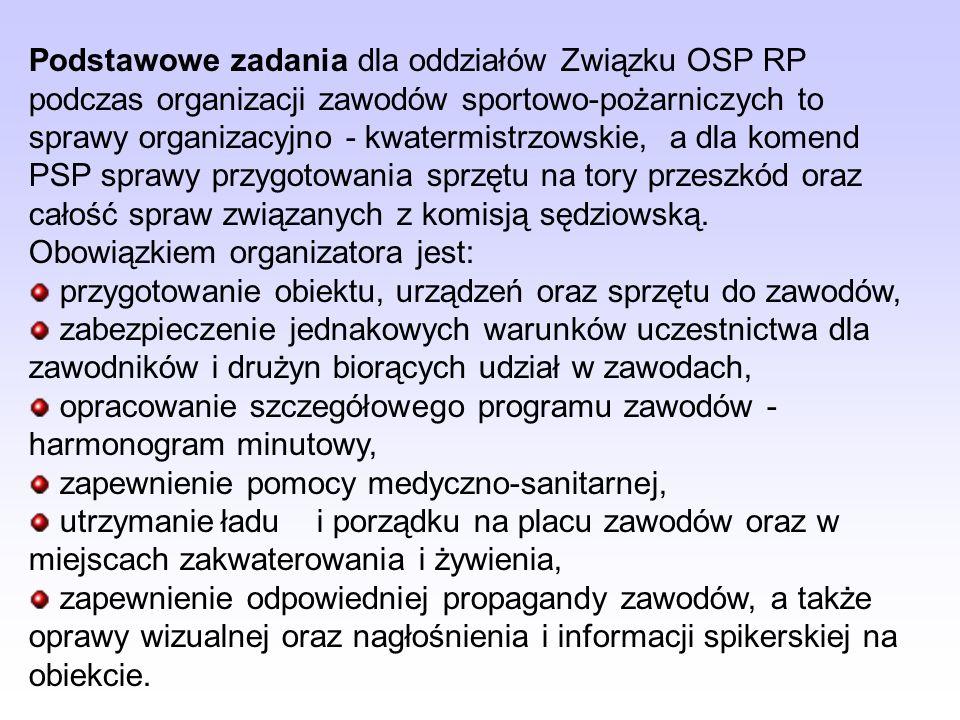 Podstawowe zadania dla oddziałów Związku OSP RP podczas organizacji zawodów sportowo-pożarniczych to sprawy organizacyjno - kwatermistrzowskie, a dla