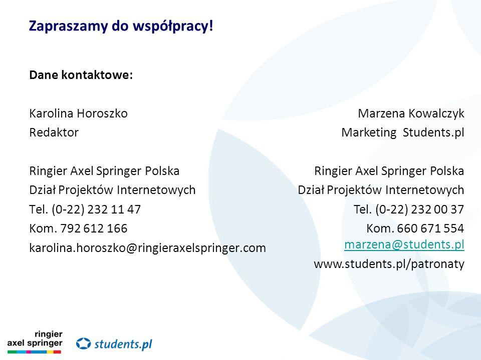 Dane kontaktowe: Karolina Horoszko Redaktor Ringier Axel Springer Polska Dział Projektów Internetowych Tel. (0-22) 232 11 47 Kom. 792 612 166 karolina