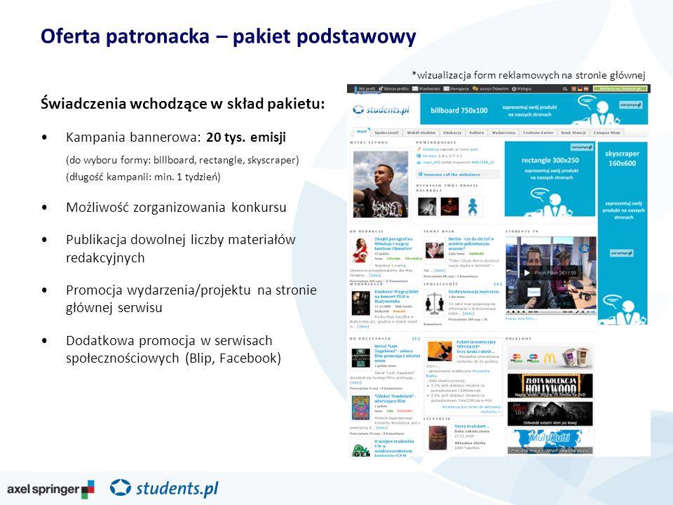 Oferta patronacka – pakiet podstawowy Świadczenia wchodzące w skład pakietu: Kampania bannerowa: 20 tys. emisji (do wyboru formy: billboard, rectangle