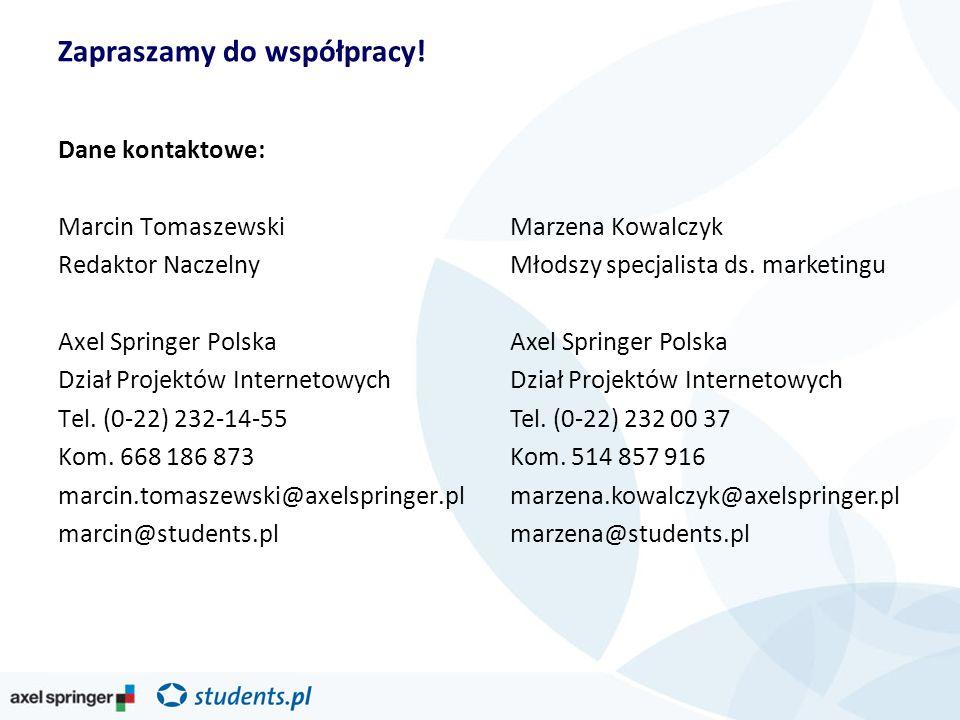 Dane kontaktowe: Marcin Tomaszewski Redaktor Naczelny Axel Springer Polska Dział Projektów Internetowych Tel.