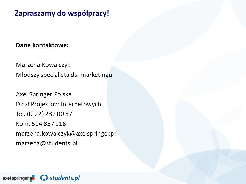 Zapraszamy do współpracy. Dane kontaktowe: Marzena Kowalczyk Młodszy specjalista ds.