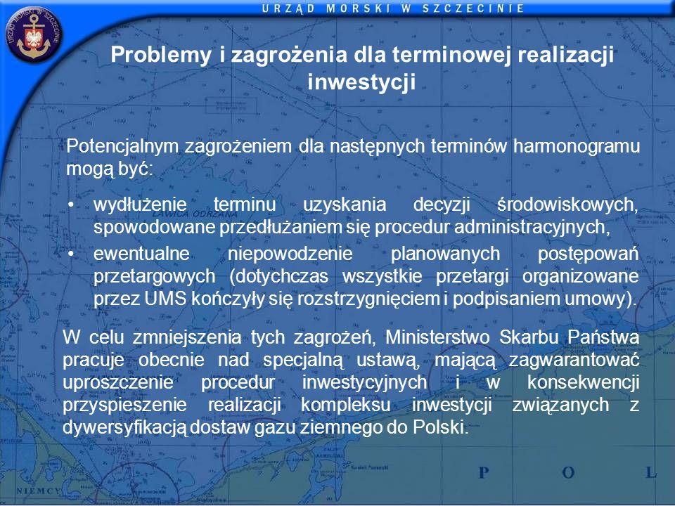 Problemy i zagrożenia dla terminowej realizacji inwestycji Potencjalnym zagrożeniem dla następnych terminów harmonogramu mogą być: wydłużenie terminu