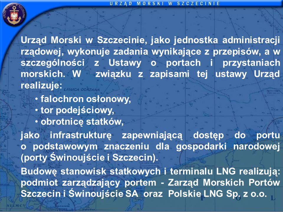 Urząd Morski w Szczecinie, jako jednostka administracji rządowej, wykonuje zadania wynikające z przepisów, a w szczególności z Ustawy o portach i przy