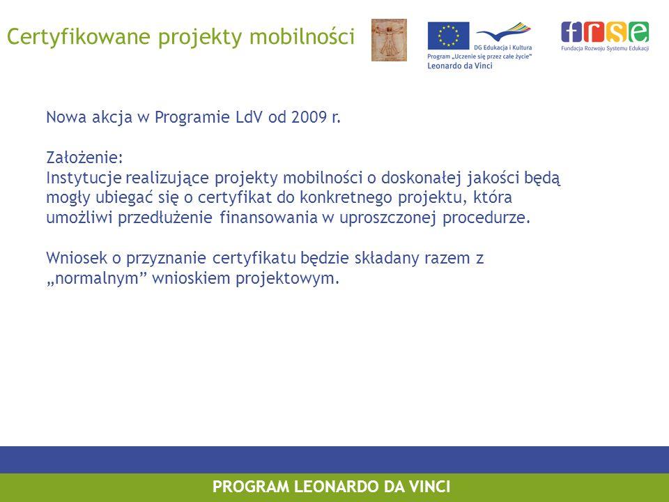 PROGRAM LEONARDO DA VINCI Certyfikowane projekty mobilności Nowa akcja w Programie LdV od 2009 r. Założenie: Instytucje realizujące projekty mobilnośc