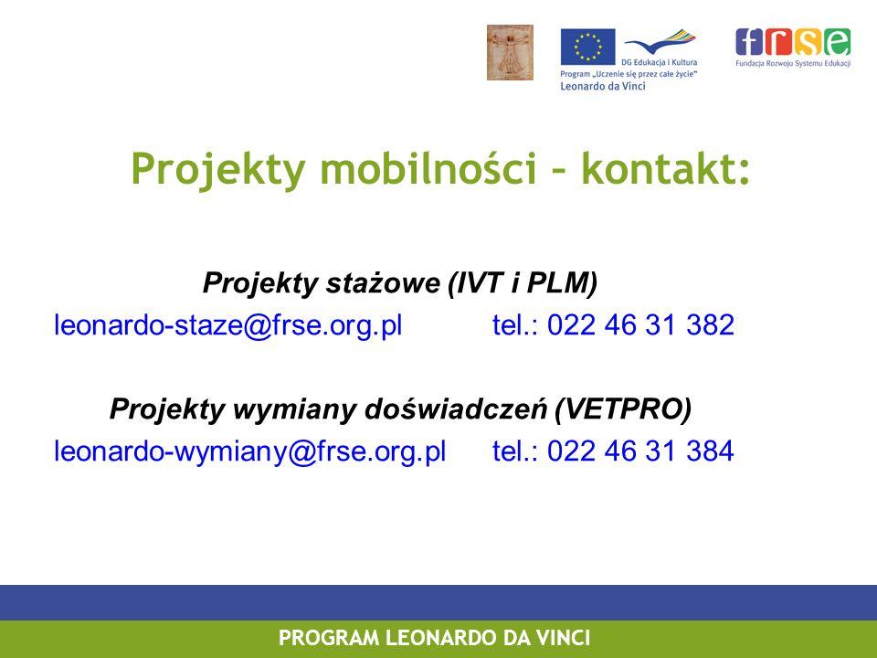 Projekty stażowe (IVT i PLM) leonardo-staze@frse.org.pltel.: 022 46 31 382 Projekty wymiany doświadczeń (VETPRO) leonardo-wymiany@frse.org.pltel.: 022 46 31 384 PROGRAM LEONARDO DA VINCI Projekty mobilności – kontakt: