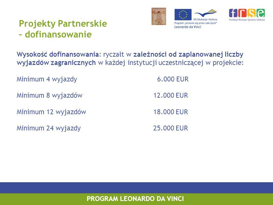 PROGRAM LEONARDO DA VINCI Projekty Partnerskie – dofinansowanie Wysokość dofinansowania: ryczałt w zależności od zaplanowanej liczby wyjazdów zagranic