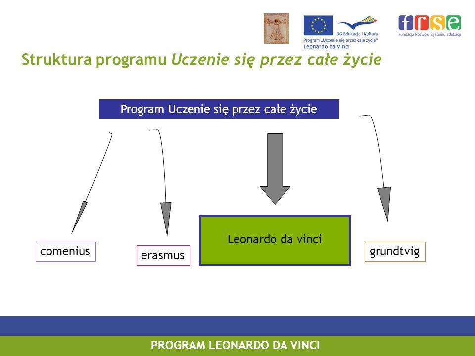 PROGRAM LEONARDO DA VINCI Struktura programu Uczenie się przez całe życie Program Uczenie się przez całe życie comenius erasmus Leonardo da vinci grundtvig