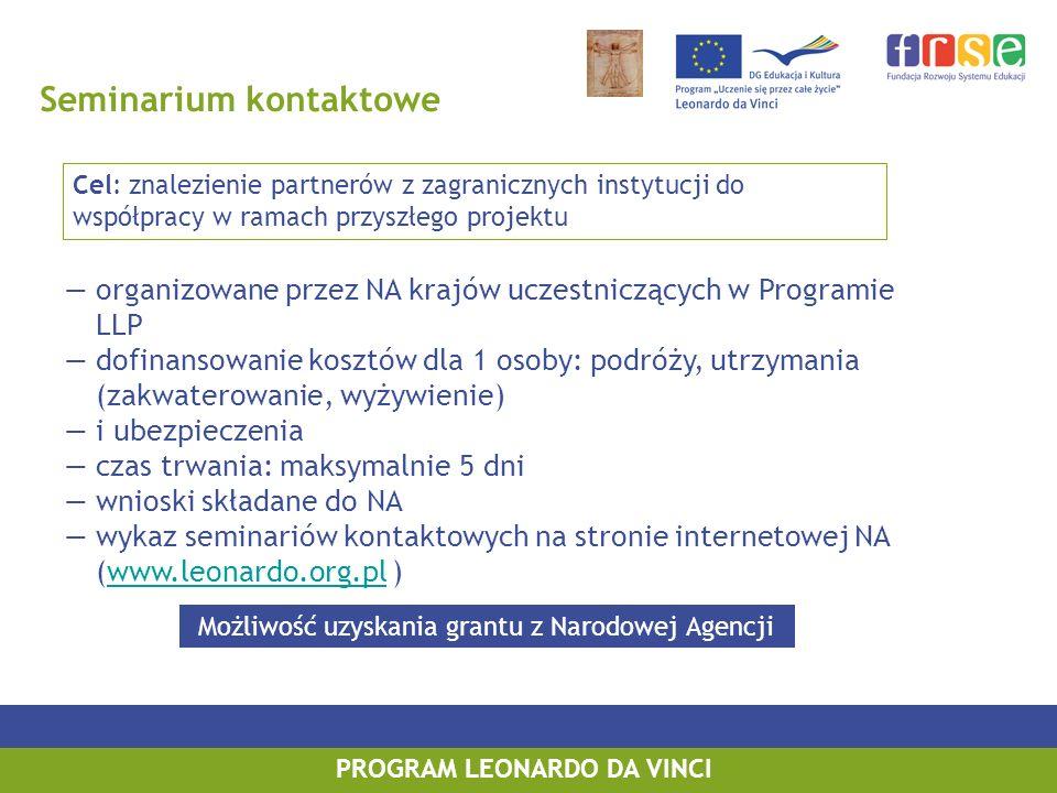 Seminarium kontaktowe organizowane przez NA krajów uczestniczących w Programie LLP dofinansowanie kosztów dla 1 osoby: podróży, utrzymania (zakwaterow