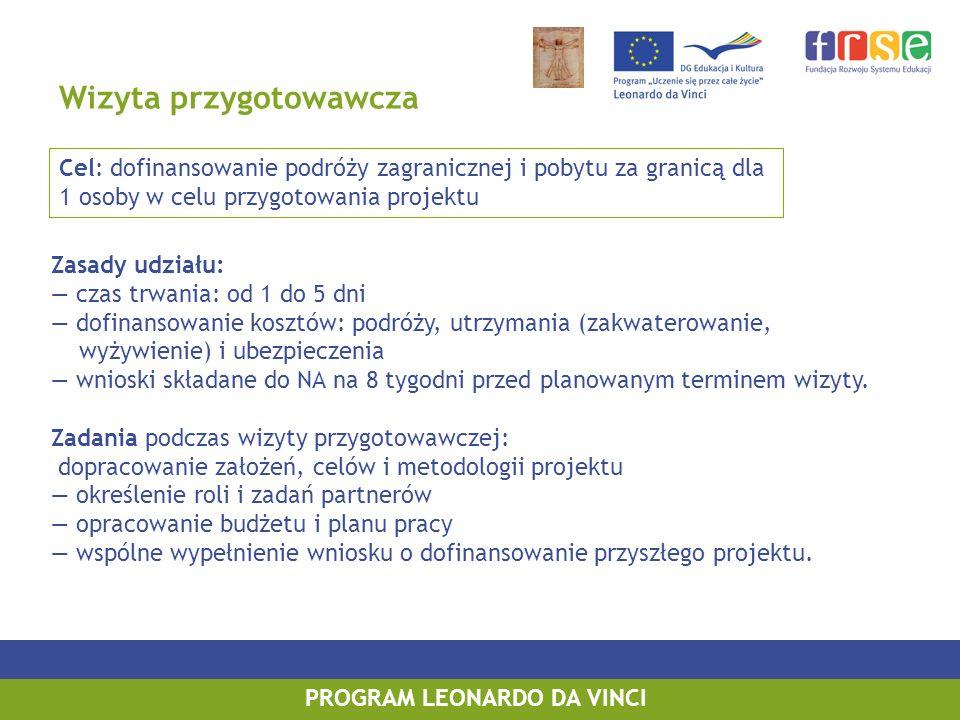 Wizyta przygotowawcza Zasady udziału: czas trwania: od 1 do 5 dni dofinansowanie kosztów: podróży, utrzymania (zakwaterowanie, wyżywienie) i ubezpiecz