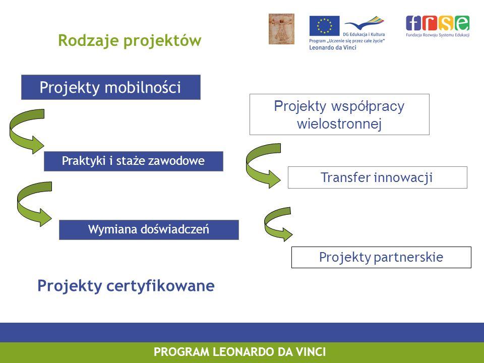 PROGRAM LEONARDO DA VINCI Projekty Partnerskie Projekty nastawione na proces Czas realizacji projektu: 2 lata (rozpoczęcie realizacji 01.08.2010) Skład grupy partnerskiej: minimum 3 partnerów z trzech różnych krajów, w tym co najmniej jeden z kraju członkowskiego UE Obowiązkowo stworzenie przez grupę projektową wspólnego produktu końcowego powstałego w wyniku realizacji projektu