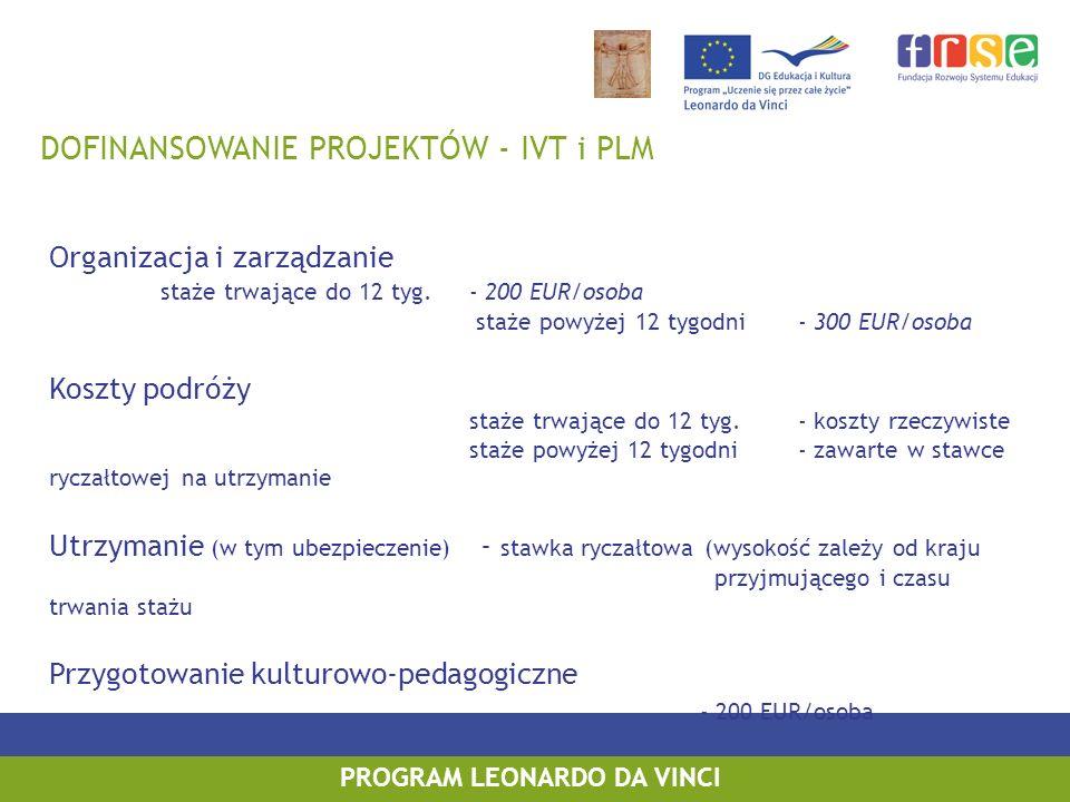 DOFINANSOWANIE PROJEKTÓW - VETPRO Organizacja i zarządzanie - 75 EUR/osoba Koszty podróży - koszty rzeczywiste Utrzymanie (w tym ubezpieczenie) - stawka ryczałtowa (wysokość zależy od kraju przyjmującego i czasu trwania stażu Przygotowanie kulturowo-pedagogiczne - 200 EUR/osoba PROGRAM LEONARDO DA VINCI