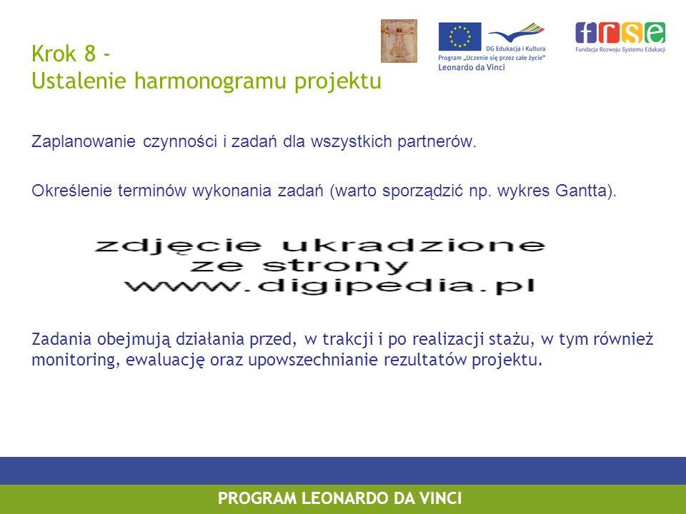 PROGRAM LEONARDO DA VINCI Krok 8 - Ustalenie harmonogramu projektu Zaplanowanie czynności i zadań dla wszystkich partnerów.