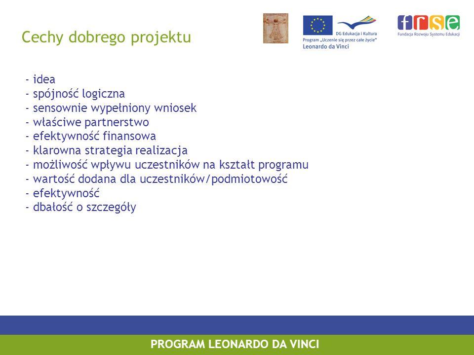 Cechy dobrego projektu PROGRAM LEONARDO DA VINCI - idea - spójność logiczna - sensownie wypełniony wniosek - właściwe partnerstwo - efektywność finansowa - klarowna strategia realizacja - możliwość wpływu uczestników na kształt programu - wartość dodana dla uczestników/podmiotowość - efektywność - dbałość o szczegóły
