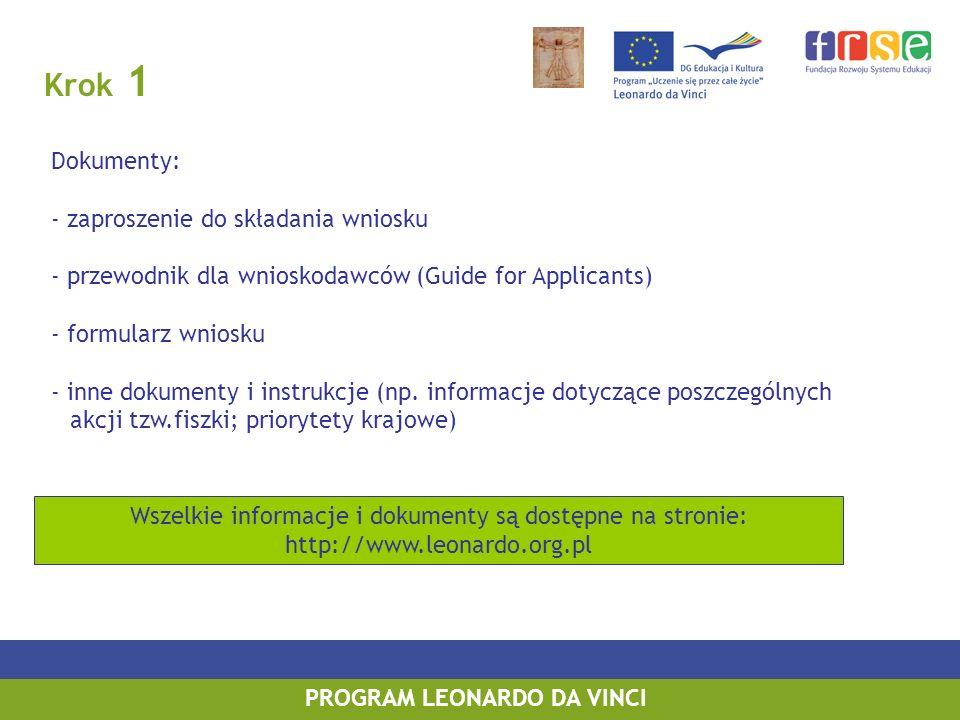 Krok 1 PROGRAM LEONARDO DA VINCI Dokumenty: - zaproszenie do składania wniosku - przewodnik dla wnioskodawców (Guide for Applicants) - formularz wniosku - inne dokumenty i instrukcje (np.