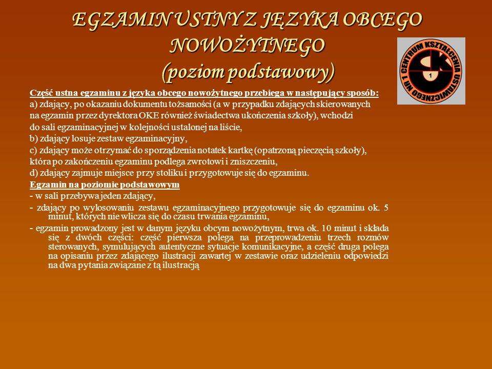 PREZENTACJA Z JĘZYKA POLSKIEGO Egzamin ustny z języka polskiego przebiega w następujący sposób: a) zdający wchodzi do sali egzaminacyjnej (w kolejnośc