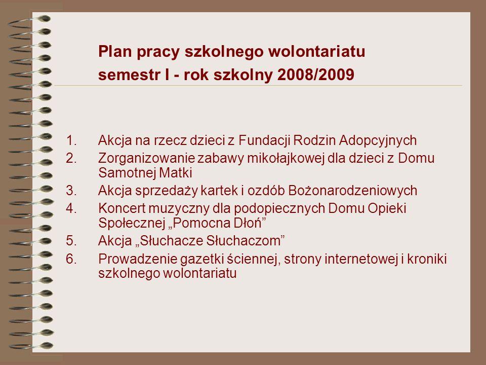 Nasze akcje czyli plan pracy szkolnego wolontariatu w semestrze pierwszym w roku szkolnym 2008/2009