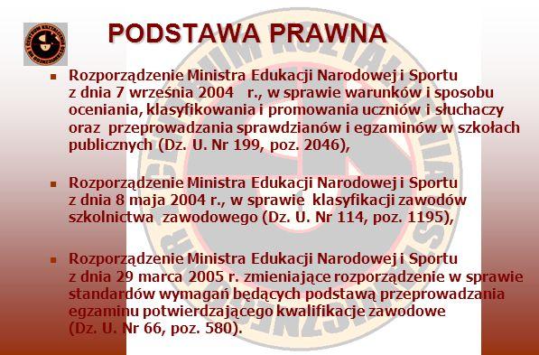 PODSTAWA PRAWNA Rozporządzenie Ministra Edukacji Narodowej i Sportu z dnia 7 września 2004 r., w sprawie warunków i sposobu oceniania, klasyfikowania i promowania uczniów i słuchaczy oraz przeprowadzania sprawdzianów i egzaminów w szkołach publicznych (Dz.