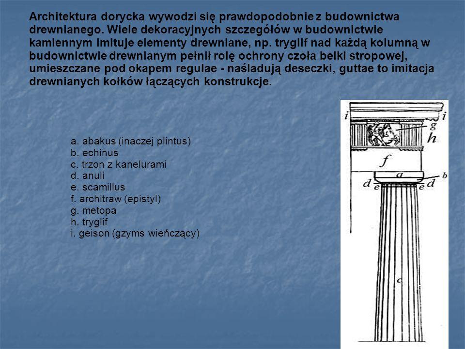 Architektura dorycka wywodzi się prawdopodobnie z budownictwa drewnianego. Wiele dekoracyjnych szczegółów w budownictwie kamiennym imituje elementy dr