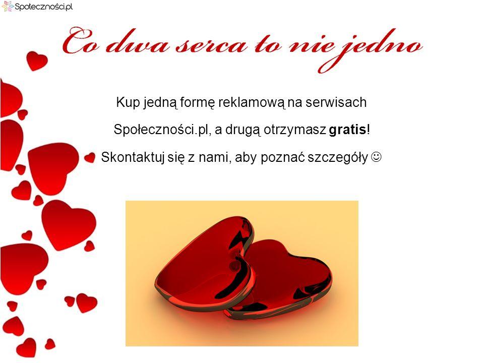 Kup jedną formę reklamową na serwisach Społeczności.pl, a drugą otrzymasz gratis.