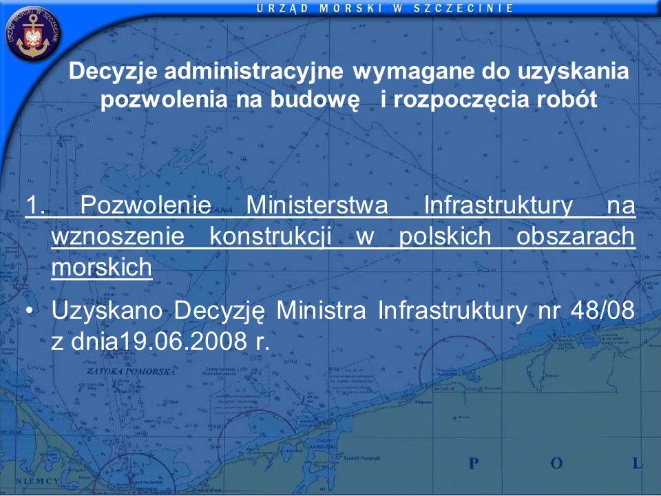 Decyzje administracyjne wymagane do uzyskania pozwolenia na budowę i rozpoczęcia robót 1. Pozwolenie Ministerstwa Infrastruktury na wznoszenie konstru