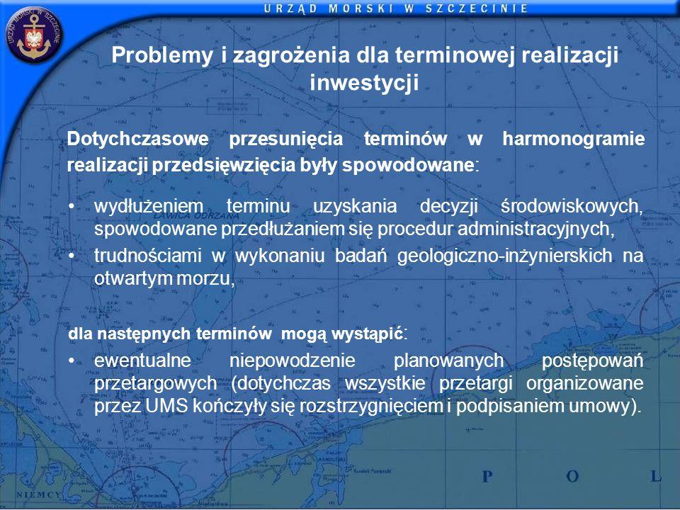 Problemy i zagrożenia dla terminowej realizacji inwestycji Dotychczasowe przesunięcia terminów w harmonogramie realizacji przedsięwzięcia były spowodo