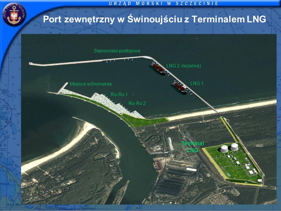 Port zewnętrzny w Świnoujściu z Terminalem LNG LNG 1 LNG 2 (rezerwa) Stanowisko postojowe Miejsce schronienia Ro-Ro 1 Ro-Ro 2 Terminal LNG