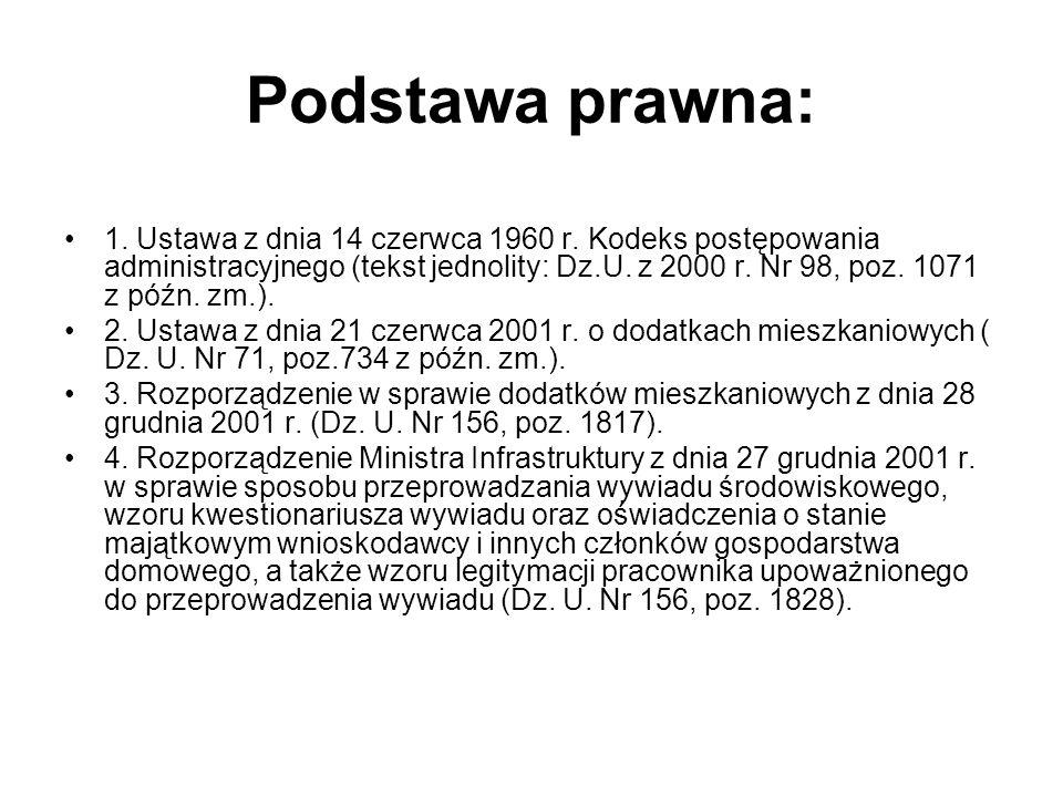 Podstawa prawna: 1. Ustawa z dnia 14 czerwca 1960 r. Kodeks postępowania administracyjnego (tekst jednolity: Dz.U. z 2000 r. Nr 98, poz. 1071 z późn.