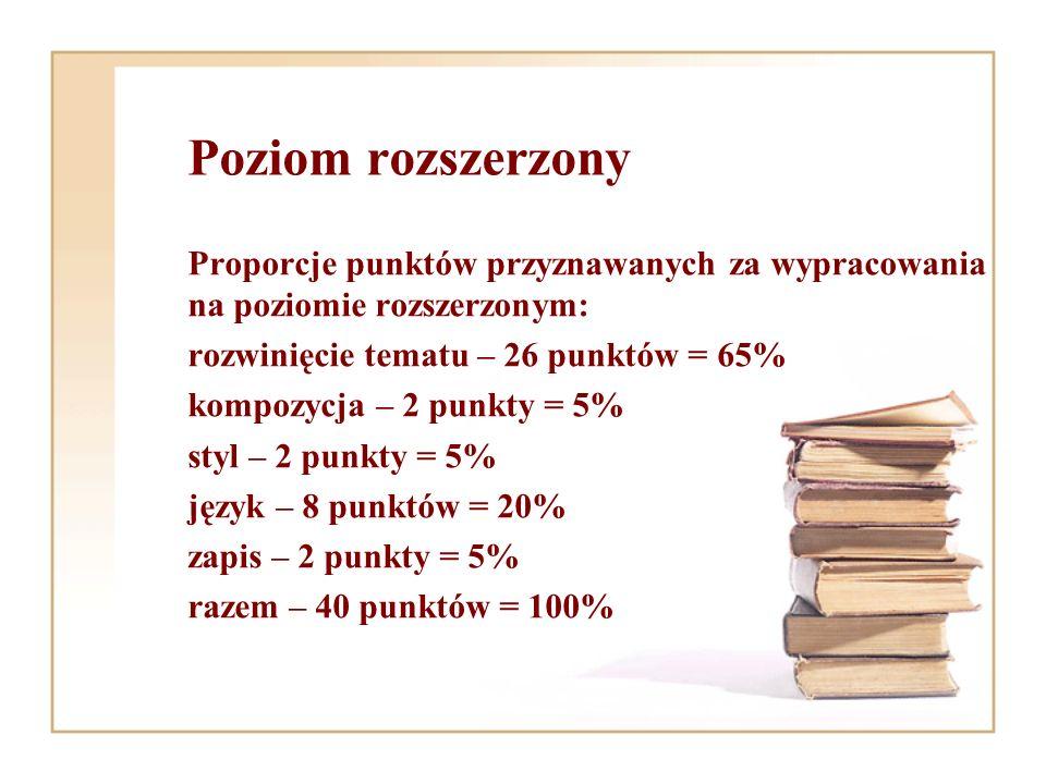 Poziom rozszerzony Proporcje punktów przyznawanych za wypracowania na poziomie rozszerzonym: rozwinięcie tematu – 26 punktów = 65% kompozycja – 2 punk