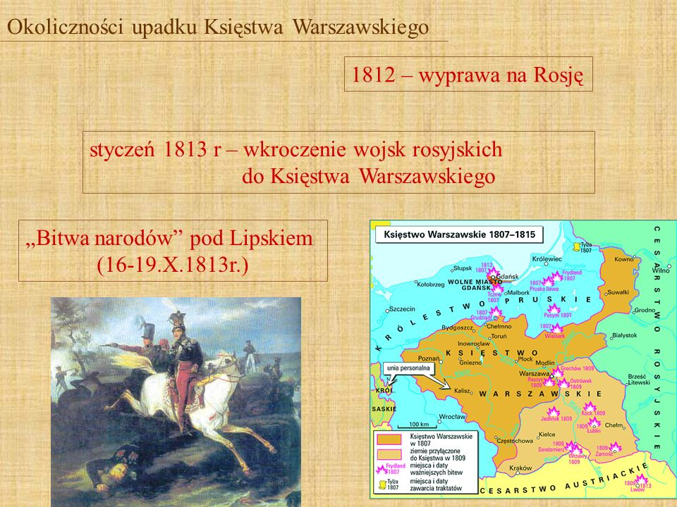Okoliczności upadku Księstwa Warszawskiego 1812 – wyprawa na Rosję Bitwa narodów pod Lipskiem (16-19.X.1813r.) styczeń 1813 r – wkroczenie wojsk rosyj