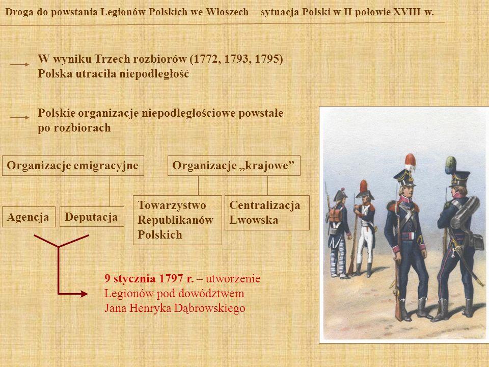 Droga do powstania Legionów Polskich we Włoszech – sytuacja Polski w II połowie XVIII w. W wyniku Trzech rozbiorów (1772, 1793, 1795) Polska utraciła