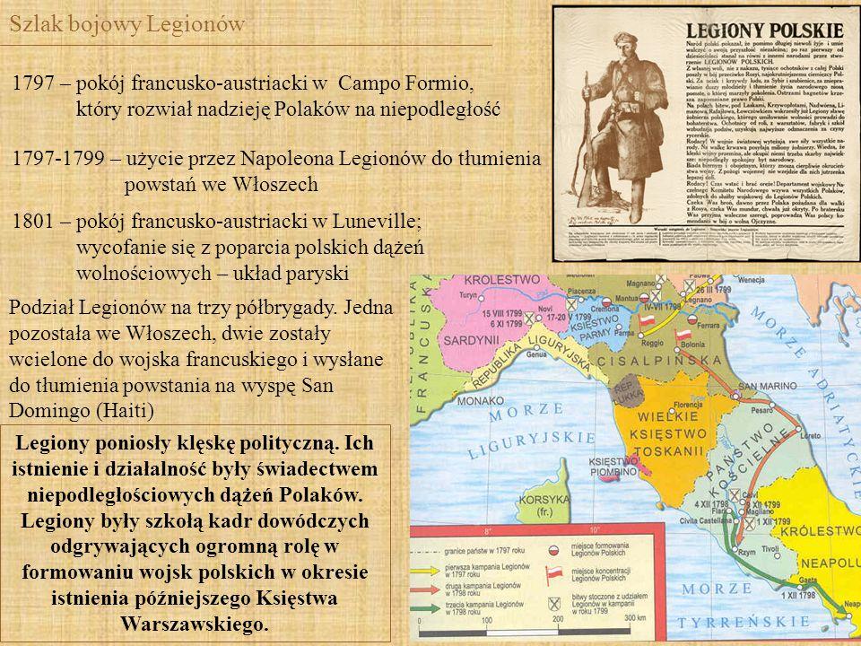 Szlak bojowy Legionów 1797 – pokój francusko-austriacki w Campo Formio, który rozwiał nadzieję Polaków na niepodległość 1797-1799 – użycie przez Napol